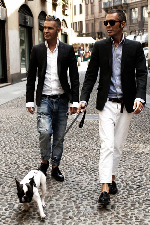 Dsquared2 and Ciro talking a walk in Milan