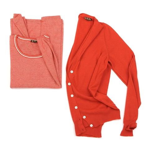 Loro Piana pure cashmere orange sweater and cardigan